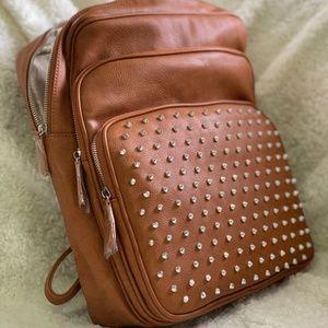 Vieta Averill Brown Studded Backpack
